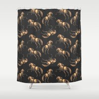 renaissance Shower Curtains featuring Golden Renaissance Horses by Antique Images