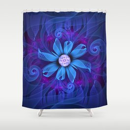 A Snowy Edelweiss Blooming as a Blue Origami Orchid Shower Curtain