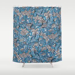 Gray Day with Blue Feelings Shower Curtain