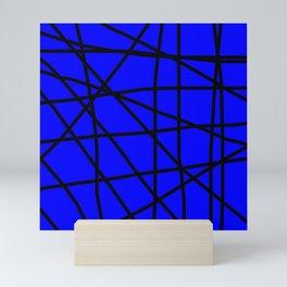 Doodle (Black & Blue) Mini Art Print