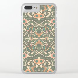 Green Vines Folk Art Flowers Pattern Clear iPhone Case