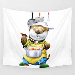 A sea otter cooking Wall Tapestry