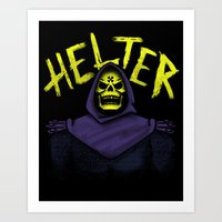skeletor Art Prints featuring Helter Skeletor by campkatie