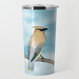 cedar waxwing and blue sky Travel Mug