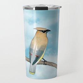 cedar waxwing and blue sky Travel Mug