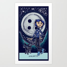 Coraline Strength Tarot Card Color Art Print