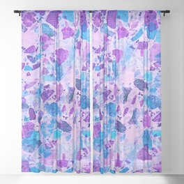 Galactic Ultra Violet Terrazzo #ultraviolet #decor Sheer Curtain