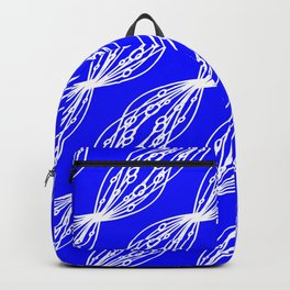 White molecular helix with diagonal circles on a blue sea background. Backpack