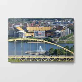 Heinz Field, Fort Pitt bridge and The Point in Pittsburgh Metal Print