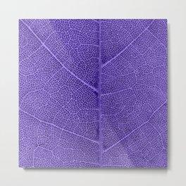 Neon Purple Leaf with Veins Metal Print