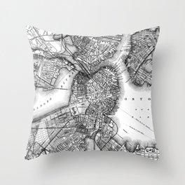 Vintage Map of Boston Massachusetts (1871) BW Throw Pillow