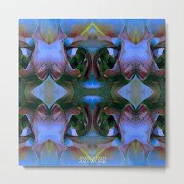 Floribunda Rose - Cool Blue Green Metal Print