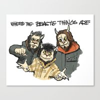 beastie boys Canvas Prints featuring Where The Beastie Things Are by Derek Salemme