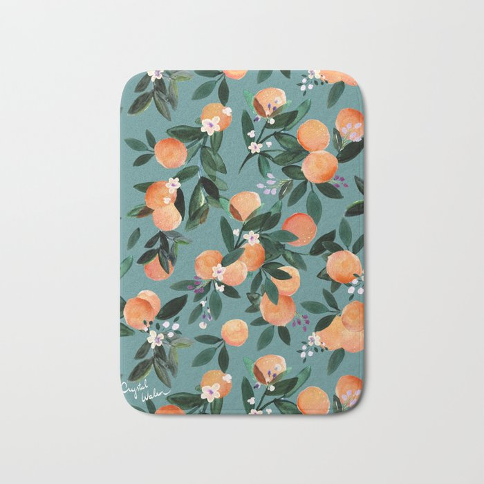 Dear Clementine - oranges teal by Crystal Walen Badematte