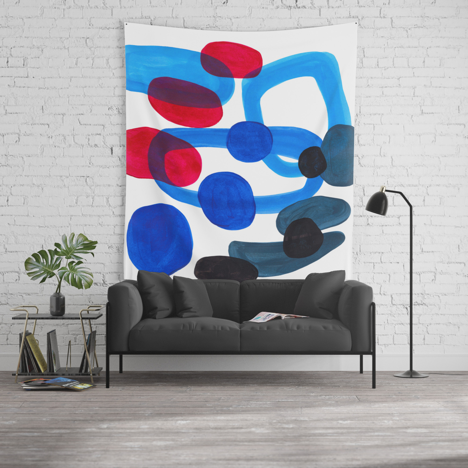 Abstract Minimalist Mid Century Modern Colorful Pop Art Retro Funky Shapes Blue Turquoise Wall Tapestry