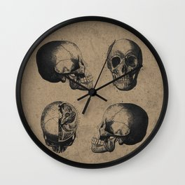 Skull View - Antique Vintage Style Medical Etching Wall Clock