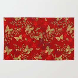 Grunge brown butterfly on a red floral background . Rug
