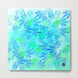Blue Mint Cannabis Swirl Metal Print