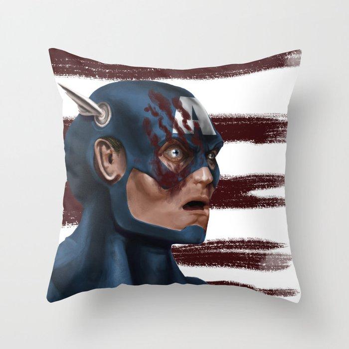 THE FACE COLLECTION - CAPTAIN AMERICA Throw Pillow