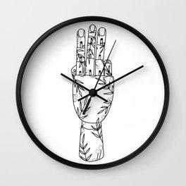Botanical Mannequin Hand - Three Wall Clock