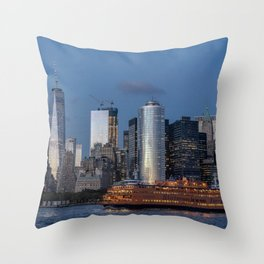 NYC and Staten Island Ferry Throw Pillow