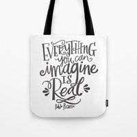 imagine Tote Bags featuring IMAGINE by Matthew Taylor Wilson