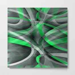 Eighties Chic Succulant Green and Grey Abstract Pattern Metal Print