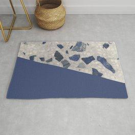 Terrazzo Texture Dark Blue #2 Rug