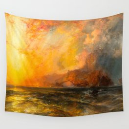 Majestic Golden-Orange Sunset Over the Troubled Atlantic Ocean landscape by Thomas Moran Wall Tapestry