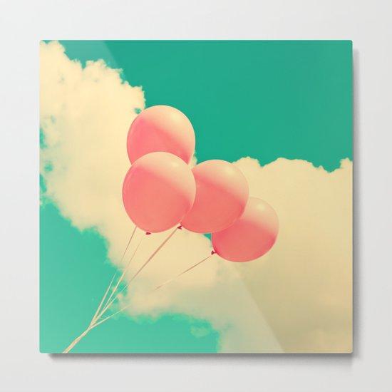 Happy Pink Balloons on retro blue sky  Metal Print