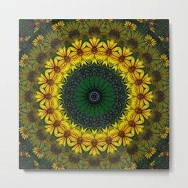 Large Yellow Wildflower Kaleidoscope Art 4 Metal Print
