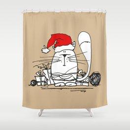 Cute Little X-mas Kitty Cat Shower Curtain