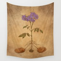 potato Wall Tapestries featuring Anatomy of a Potato Plant by Faellen