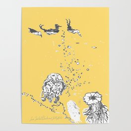 Two Tailed Duck and Jellyfish Pale Yellow Mellow Poster