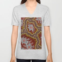 Aboriginal Art Authentic - Bushland Dreaming Ppart 2 Unisex V-Neck