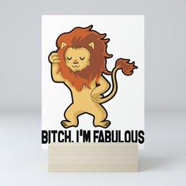 I'm Fabulous Funny Star Sign Lion Birthday Gift Mini Art Print