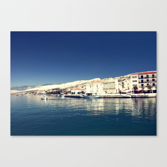 White and dark blue Canvas Print