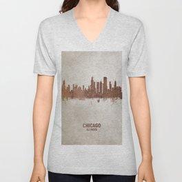 Chicago Illinois Rust Skyline Unisex V-Neck