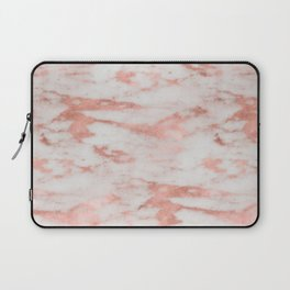 White Marble with Rose Gold Foil Laptop Sleeve