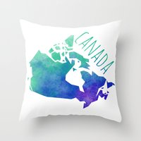 canada Throw Pillows featuring Canada by Stephanie Wittenburg