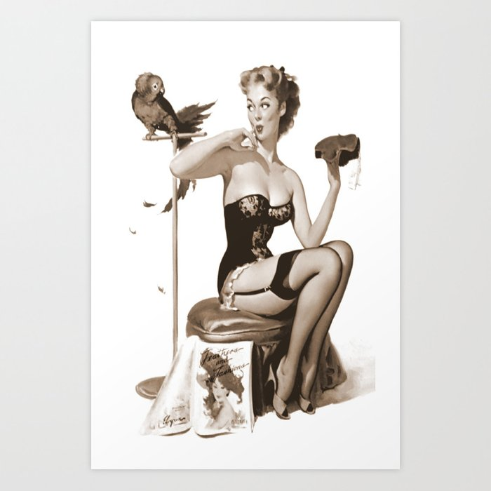 fd82a9ee4ad No You Don t by Gil Elvgren Sepia Pin Up Girl Art Print by purelove ...