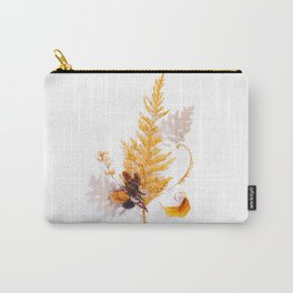 Beautiful Minimalist Evergreen Yellow Ochre Leaf Plant Arrangement White Background Carry-All Pouch