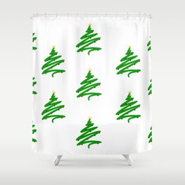 Minimalist Green Christmas Tree and Ornaments Doodle Pattern Shower Curtain