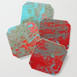 texture - aqua and red paint Coaster