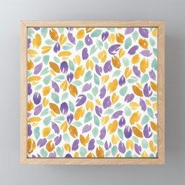 Watercolour Petals | Purple, Orange, Green Framed Mini Art Print