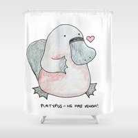 platypus Shower Curtains featuring Platypus by Daynasdoodleydoos