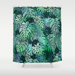 Monstera Monsters Shower Curtain