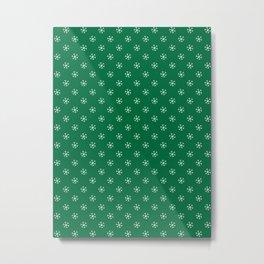 White on Cadmium Green Snowflakes Metal Print