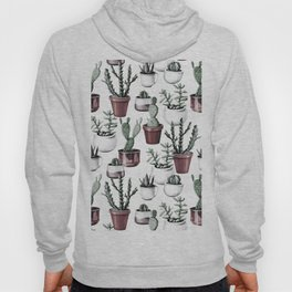 Happy Cacti in Rose Gold Pots Pattern Hoody