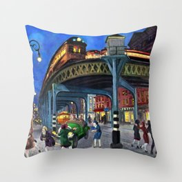 Classical Masterpiece 'Sixth Avenue Elevated at Third Street' New York City by John Sloan Throw Pillow